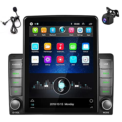 android auto radios Double Din Android Car Stereo 9.5 Inch Touch Screen in-Dash GPS Navigation Head Unit Bluetooth Car Radio FM WiFi Car MP5 Player Support MirrorLink/AMP/Subwoofer/DVR/SWC/OBD2/D-Play+HD Camera+Micro