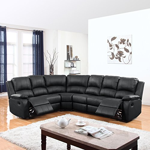 Divano Roma Traditional Bonded Reclining Leather Corner Couch
