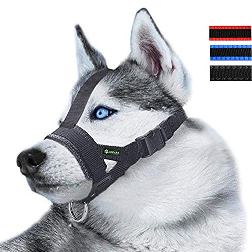 RockPet Maulkorb aus Nylon um Hunde vom Beisen, Bellen und Kauen abzuhalten, Anpassbare Schlinge (M,Schwarz)