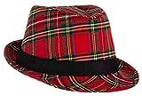 Brandsseller Karierter Hut mit schwarzem Einfassband Party Hut Kostuem Verkleidung Karneval...