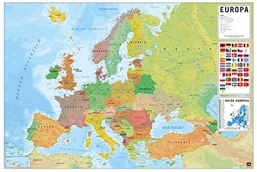 Grupo Erik Mapa de Europa ES, Político-Físico, multicolor, 61 x 91,5 cm