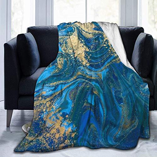Manta personalizada, pintura azul y dorado, tinta líquida de mármol con patrón abstracto, color turquesa, suave y cómoda manta de felpa para sofá, dormitorio, viajes, manta esponjosa de 106 x 127 cm