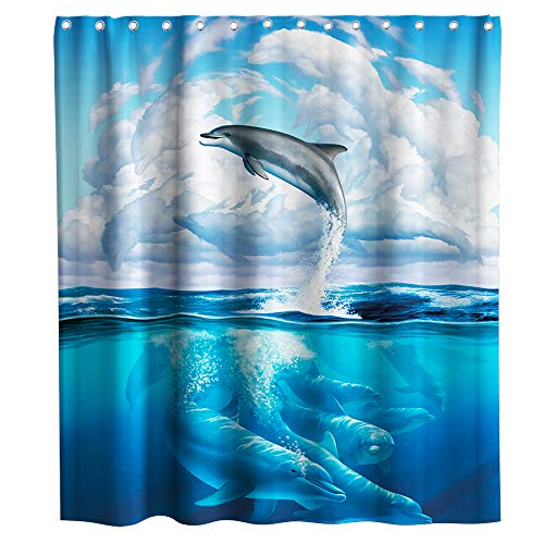 Dolphin Shower Curtain Ocean Wave Clouds Sea Theme Fabric Kids Bathroom Sets Decor with Hooks Waterproof Washable 72 x 72 inches Deep Blue Grey and White