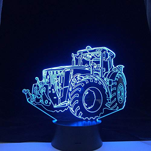 3D Illusion Lampe,3D Nachtlicht Tractor Car Excavator truck Lampe Kids Led Night Light Colorful Touch Nightlight for Home Decoration Light Birthday Gift Desk Table Lampe for boy 7 Color Touch