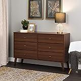 Prepac Milo Mid Century Modern Dresser, 6-Drawer, Cherry