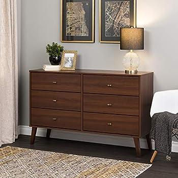 Prepac Milo Mid Century Modern Dresser 6-Drawer Cherry