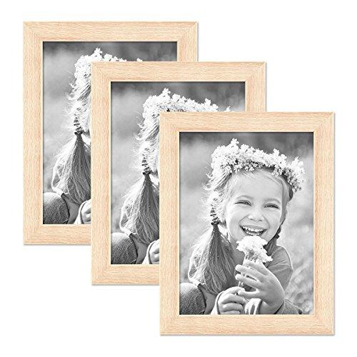 Set de 3 Cadres Photo 15x20 cm chêne Sonoma Clair Moderne Bois Massif avec vitre INCL. Accessoires/Cadre Photo
