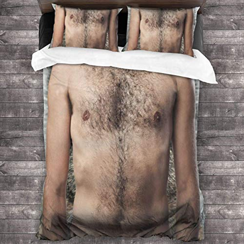 Spoof Hairy Chest Bed Sheet Set Sheet Wrinkle Resist Modern Bed Decoration Cover Set 3 Pcs Bedroom Comforter Set