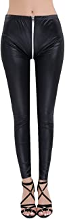 iEFiEL Women Two-Way Zipper Open Crotch Stretchy Faux Leather Leggings Skinny Pants
