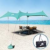 WINNINGO Premium Beach Sunshade, Large Sun Shade Canopy 10' x 9', Beach Tent with 4 Aluminum Poles, 4 Pole Anchors, Waterproof Carry Bag & Bonus Tarp Mat, UPF50 UV Protection (Turquoise)