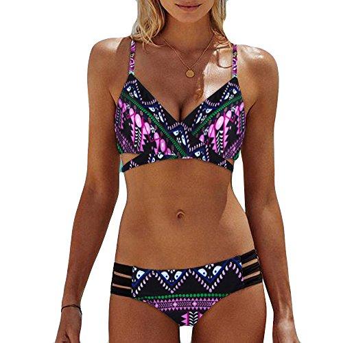 LANSKIRT_Bikinis Bikini Mujer Push Up Lanskirt Mujeres Conjunto de Traje de BañO Estampado Bohemio BañAdores con Relleno Trajes de BañO Mujer 2019 Bikini Estampado Dividido BañAdores