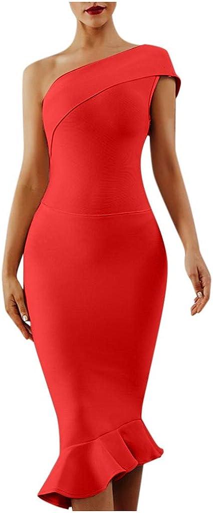 AKIMPE Women's Summer Slim Fashion Strapless Evening Dress Skirt Split Elegant Dress