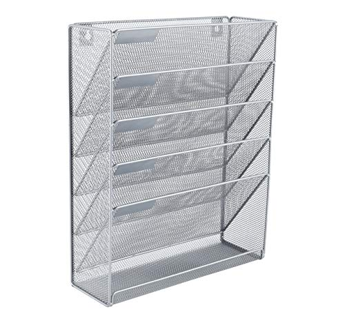 EasyPAG Mesh Wall File Holder 5 Tier Mount/Hanging Vertical File Organizer with Bottom Flat Tray,Silver