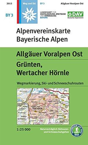 Allgäuer Voralpen Ost, Grünten, Wertacher Hörnle: Topographische Karte, mit Wegmarkierungen, Ski- und Schneeschuhrouten: Grnten, Wertacher Hrnle. ... und Schneeschuhrouten (Alpenvereinskarten)