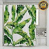 Tropic Plant Painting Duschvorhänge Aquarell Bananen Palmblätter Wasserdichte Badevorhänge mit gewichtetem Gummi am unteren Ende Hunter hellgrün Weiß 180cm × 180cm
