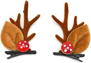 XLEIYI Christmas antler head jewelry hairpin female Sen female hair accessories headband small elk headband female antler ears hair ball hairpin (Color : B)