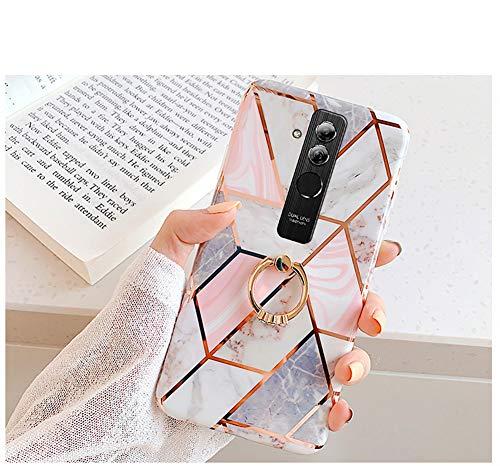 JAWSEU Compatible avec Coque Huawei Mate 20 Lite Silicone TPU Souple Housse Étui avec Anneau Ultra Mince Placage Avancé Marbre Motif Anti-Rayures Coque Bumper Case,Rose