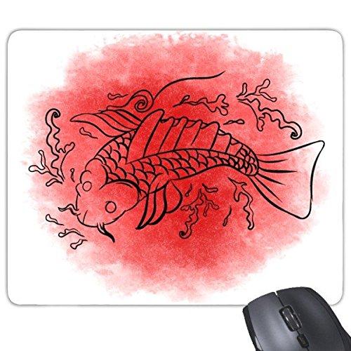 Japan Cultuur Rood Zwart Japanse Stijl Goudvis Golven Ink-and-wash Handgedecoreerde Illustratie Rechthoek Antislip Rubber Mousepad Game Mouse Pad