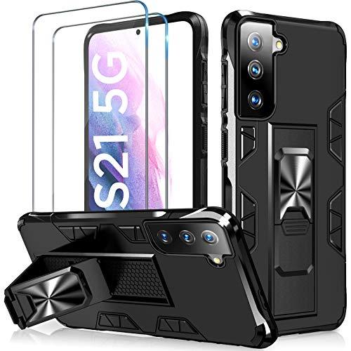 TQCS für Samsung Galaxy S21 Hülle +2 Panzerglas [Echter Militärischer Schutz], Handyhülle Samsung S21 mit Horizontalem & Vertikalem Ständer, Schutzhülle Kompatibel S21 Hülle