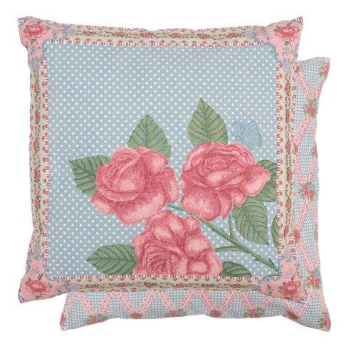 Clayre & Eef–Federa per cuscino federa Spring Rose blu/rosa 40x 40cm