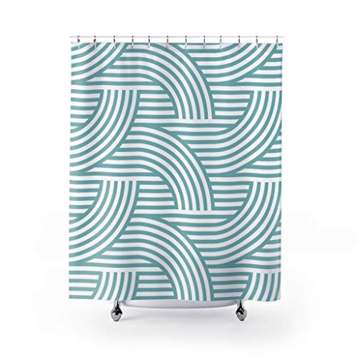 DKISEE Deco Style Wave Pattern Light Teal Custom Design Fabric Shower Curtain Bathroom Decor 71x71 inches