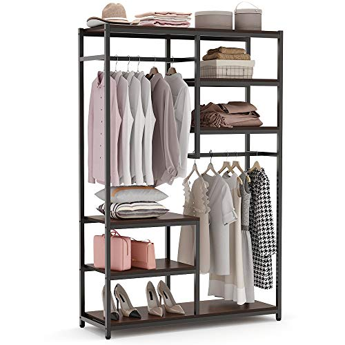 Tribesigns Free Standing Closet Organizer, Double Hanging Rod Clothes Garment Racks with Storage Shelves, Heavy Duty Metal Closet Storage Clothing Shelving for Bedroom, Capacity 300 lbs