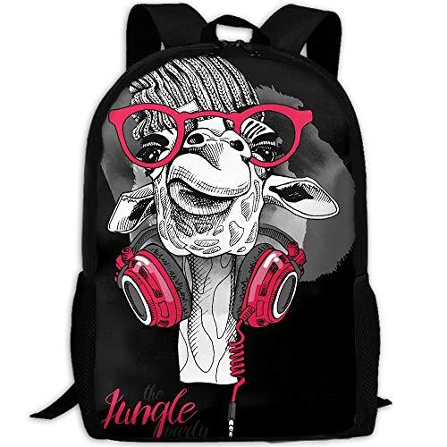 Daypacks Giraffe In Einem Gestrickten Hipster Hut Daypack Geburtstagsgeschenk Interesse Custom Durable Travel College Bag Lässig Einzigartiger Druck Schulrucksack Bookbag