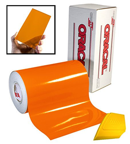 ORACAL 8300 Transparent Orange 12' x 24' Colored Window Tinting Vinyl Roll Including Hard Yellow Detailer Squeegee (2 Roll Pack)