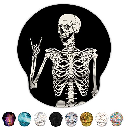 Britimes Ergonomic Mouse Pad with Wrist Support Black Human Skeleton Non-Slip Rubber Base Mousepad for Home Office Gaming Working Computers Laptop Easy Typing & Pain Relief