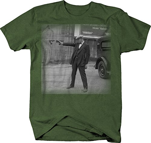 American Gangster in Suit Vintage 1920's 1930's Gun Mobster T Shirt XL Heather Military Green