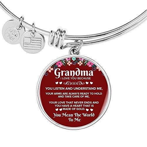 Grandma i Love You Because Acero Inoxidable Oro 18k Gold Círculo Brazalete De Pulsera - Luxury Brazalete De (Gold)