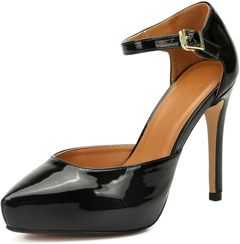 LIURUIJIA Women's Ankle Strap Heels D'Orsay with Hidden Platform Stilettos Closed Pointed Toe Dress shoes Bridal Party Pumps Plus Size ZY19-11