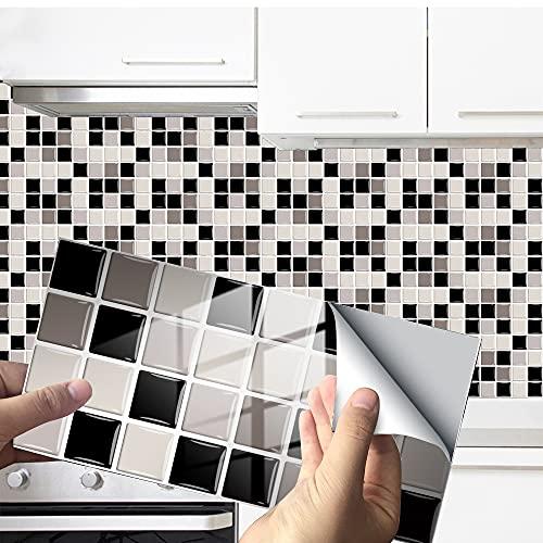 Hiseng 24/48 Piezas Rectángulo Adhesivos Decorativos Azulejos Pegatinas para Baldosas del Baño, Mármol Mosaico Estilo Cocina Resistente al Agua Pegatina de Pared (Gris Mosaico,48Piezas)