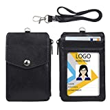 Leather Badge Holder with Zipper Pocket,1 Clear ID Window and 3 Card Slots with Secure Cover, Premium Leather ID Holder with Nylon Lanyard for Office School ID, Credit Cards, Driver Licence
