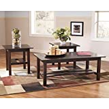 Signature Design by Ashley - Lewis Contemporary 3-Piece Table Set - Coffee Table and 2 End Tables, Brown