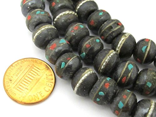 50 beads - 10 - 11 mm size Tibetan black brown color bone mala beads with turquoise coral inlay- ML040B