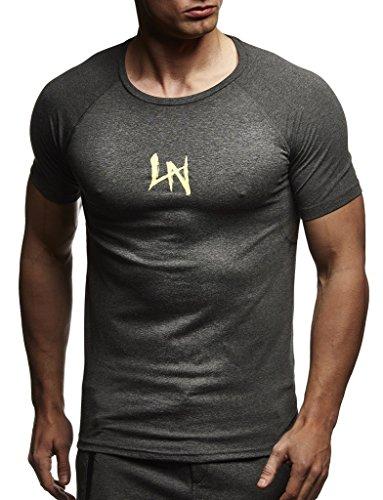 Leif Nelson Gym Herren Fitness T-Shirt Slim Fit Moderner Männer Bodybuilder Trainingsshirt Kurzarm Top Herren Sport T-Shirt - Bekleidung für Bodybuilding Training LN8041 Anthrazit-Gelb Large
