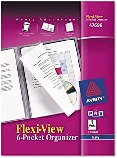 Avery 47696 Flexi-View 6-Pocket Organizer, 150 Sheet Cap, 8.5x11, Navy, 1/EA