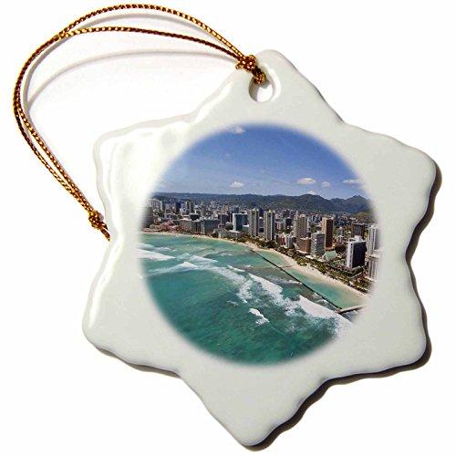 3dRose orn_89796_1 Waikiki, Honolulu, Oahu, Hawaii US12 DPB2247 Douglas Peebles Snowflake Porcelain Ornament, 3-Inch