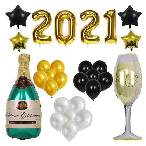 COLLAGEN fhdjcn 2021 Globos de Papel de Feliz cumpleaños Botella de 32 Pulgadas Globos de Helio Fiesta de año Nuevo