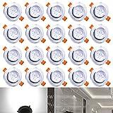 Hengda® 20X 3W LED Einbauleuchten Flach Alu-matt Deckeneinbauleuchten Aussen 230v für das Bad geeignet (Aluminium,Rund Design)