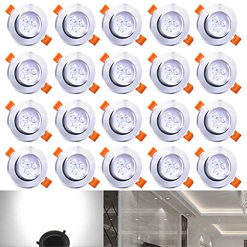 Hengda® 3W LED Einbauleuchten 20er Set, AC 230V 3W Einbaustrahler Kaltweiß Beleuchtung LED Einbauspots Stimmungsbeleuchtung Wohnraum Schlafzimmer IP44