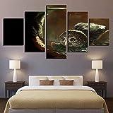 Pinturas en lienzo Arte de la pared SIN marco 5 piezas Gran búho gris Imágenes HD Impresiones Gusanos y pájaros Póster de animales Decoración modular para el hogar 25x40cmx2P, 20x50cmx2P, 20x60cmx1P s