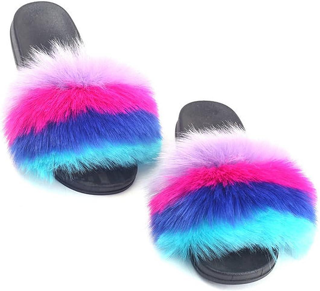DAYISS Women Faux Fox Fur Slippers Summer Feather Open Toe Single Strap Slip On Sandals