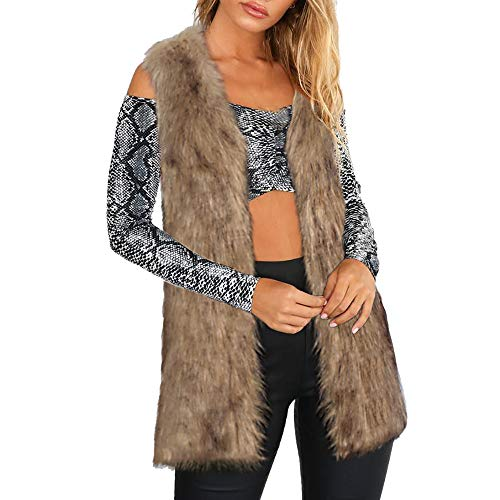 DongDong✫Sexy Thickening Vest,Women's Slim Fit Fox Mink Parka Faux Fur Warm Jacket Gilet Cardigan Coat Brown