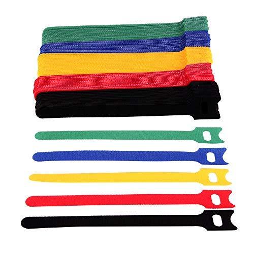 Faburo 100 pz Fascette fermacavi riutilizzabili e regolabili in per cavi, 5 Colori