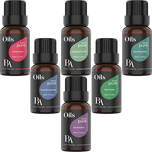 Bel Air Naturals Aromatherapy Top 6 Essential Oils Set - 100% Pure Therapeutic Grade - Peppermint/Tea Tree/Rosemary/Lavender/Eucalyptus/Frankincense - Best For Oil Diffuser Massage