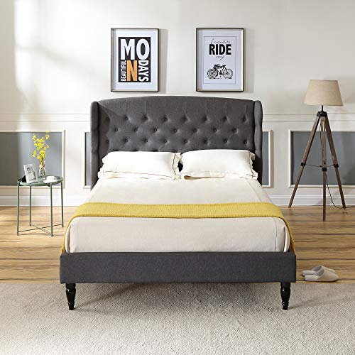 Classic Brands Brighton Upholstered Platform Bed | Headboard and Wood Frame with Wood Slat Support | Grey, Queen