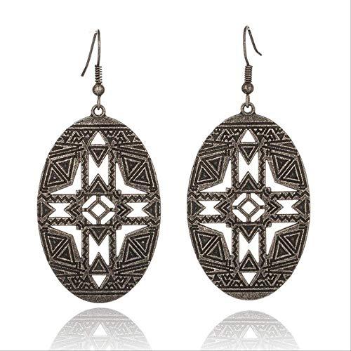 Manchettes d'oreille pour les femmes tendance pour les femmes cadeau de vacances ornements évidés circulaires style punk gouttelettes géométriques ellipse d'argent
