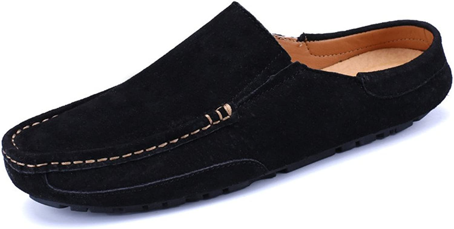 CHENXD shoes, Men's Genuine Leather Casual Driving Penny Loafers Slippers Slip-On Boat Mules